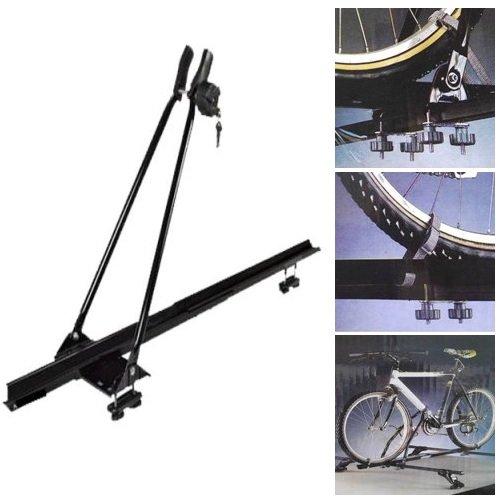 Barres Porte-vélos pour Voiture de Toit Support Base pour vélo avec Sangles 6 pommeaux et vis universelles pour 1 vélo pour Barres de Voiture